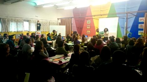 El salón de actos del Núñez durante el seminario de matemáticas ABN de octubre de 2015